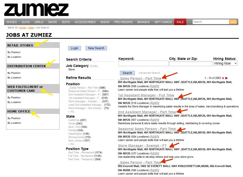 Screenshot of the Zumiez application process 2