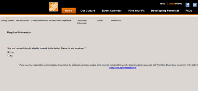 Screenshot of the home depot application process 3
