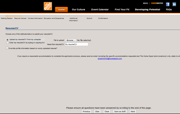 Screenshot of the home depot application process 4