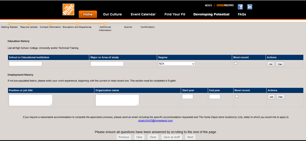 Screenshot of the home depot application process 6