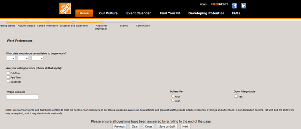 Screenshot of the home depot application process 7