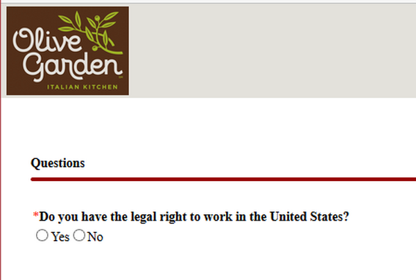 Screenshot of the Olive Garden Application Process