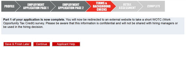 Screenshot of the Autozone Application process