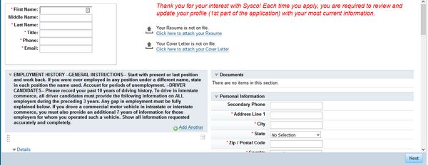 Screenshot of the Sysco application portal