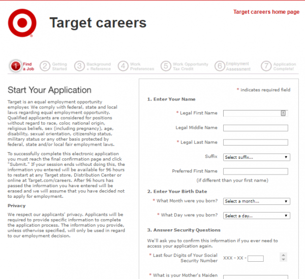 Target Job Application Career Guide – Target Application Form