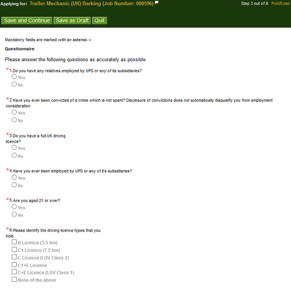 Screenshot of the Ups application process4
