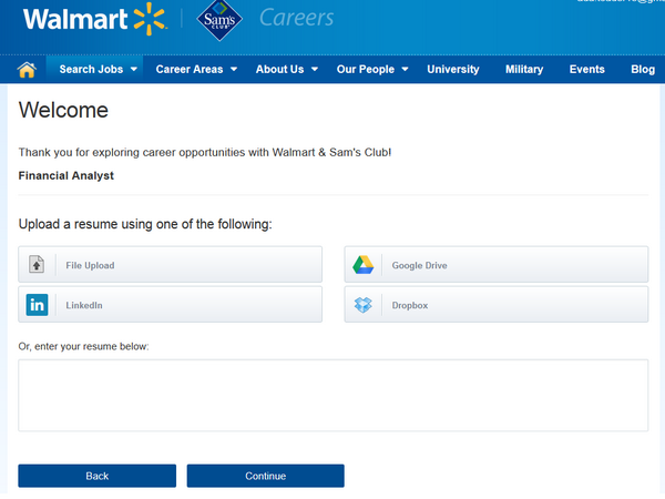 Screenshot of the Walmart application portal