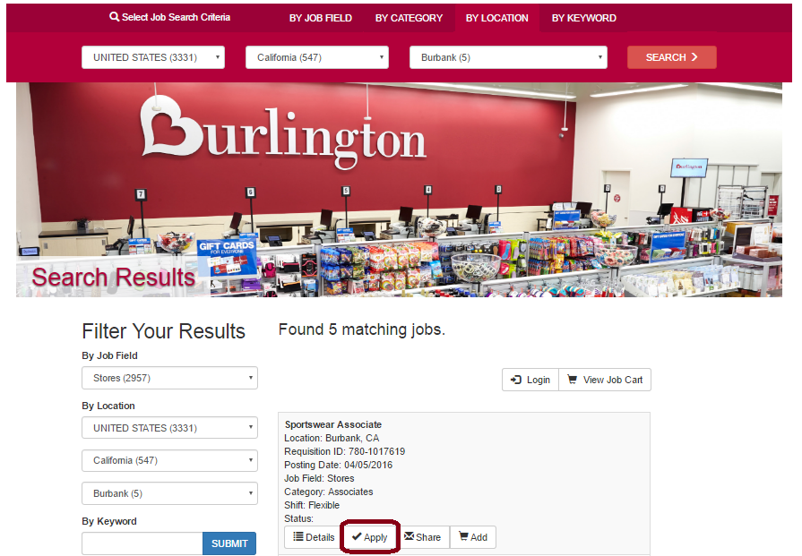 burlington coat factory online application