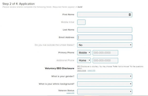 Screenshot Of The 99 Cent Store Application Process