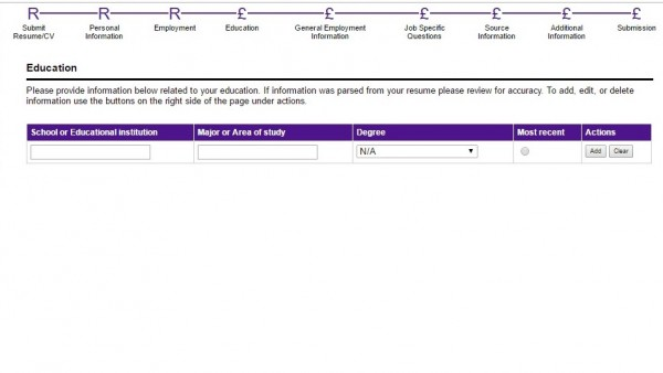 Screenshot of the Fedex application process