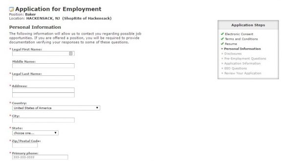 Attractive Screenshot Of The Shoprite Application Portal  Wakefern Portal