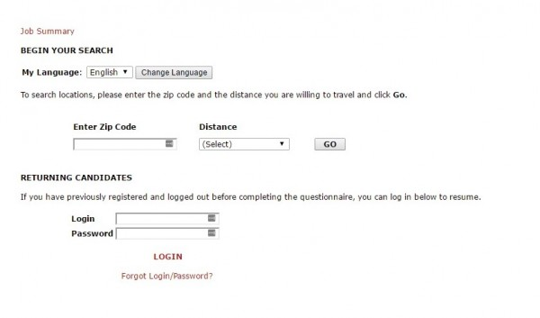 Screenshot of the Sonic Drive In application process