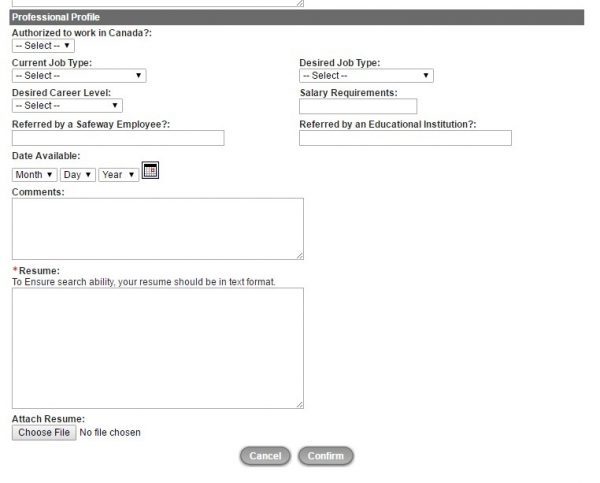 Screenshot of the Vons appliation process