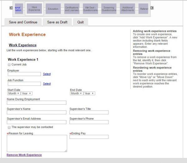 Screenshot of the Wet Seal application process