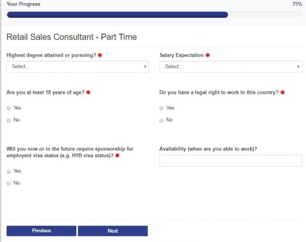 Screenshot of the Comcast application process