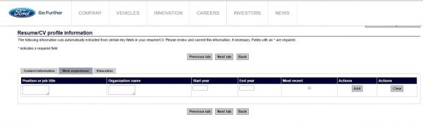 Screenshot of the Ford application process