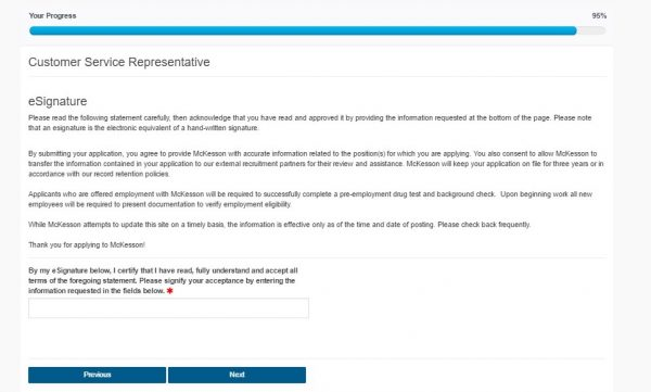 Screenshot of the McKesson application process