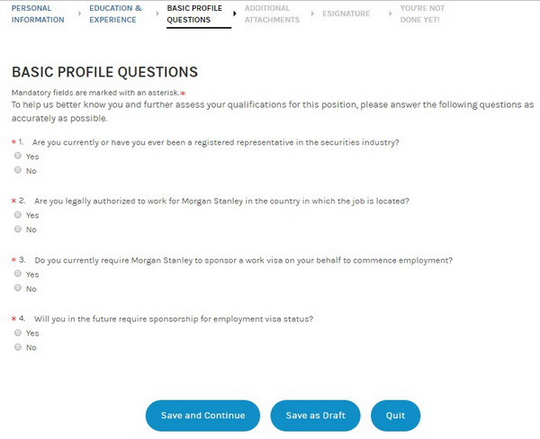 Screenshot of the Morgan Stanley application process