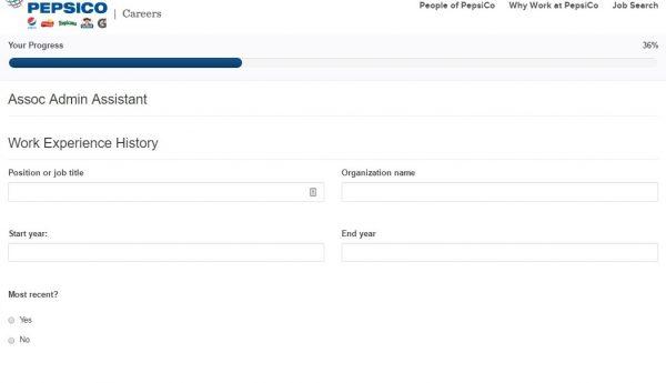Screenshot of the Pepsi Application Process