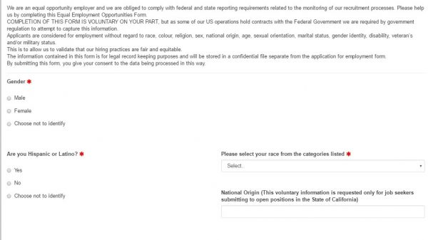 Screenshot of the Pepsi Application Process