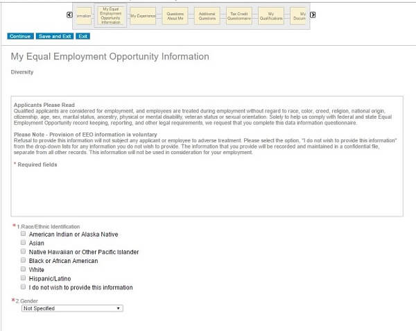 Employment Request Form Screenshot Of Eeo Section Of The Gap