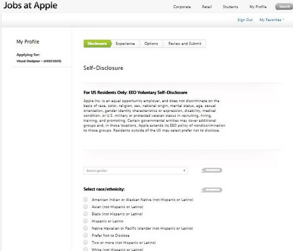 Screenshot of the Apple application process