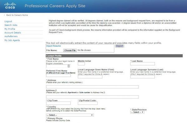 Screenshot of the Cisco application process