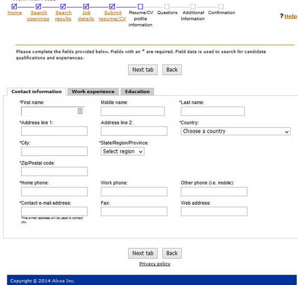 Screenshot of the Contact Information section of the Alcoa application form