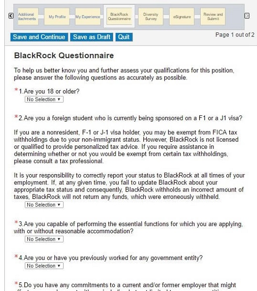 Screenshot of the Questionnaire section of the BackRock application form