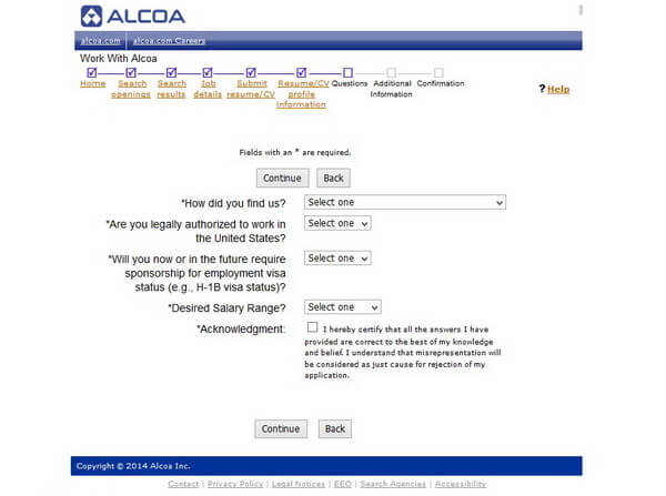 Screenshot of the Questions section of the Alcoa application form