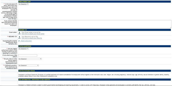 Screenshot of the Resume section of the Goodyear application form