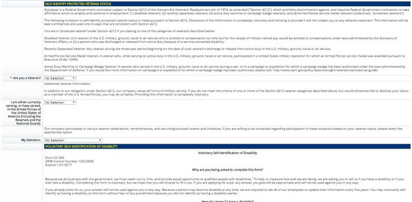 Screenshot of the Self-Identify section of the Goodyear application form