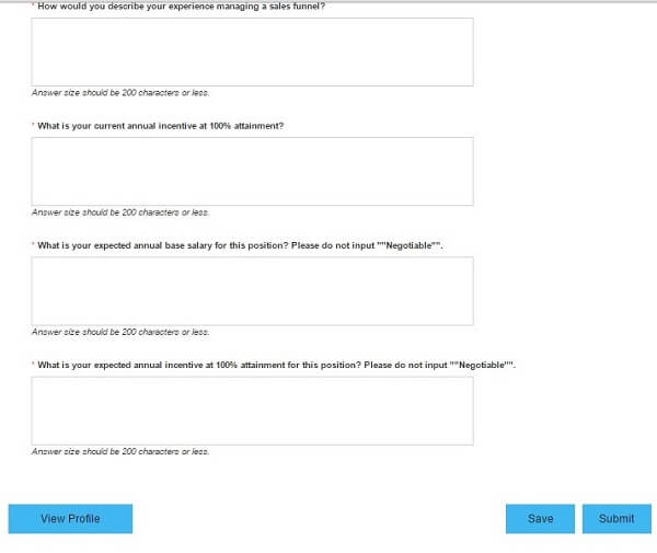 Screenshot of the last application questions of the CenturyLink application form