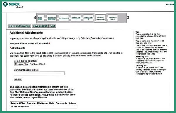 Screenshot of the Additional Attachments section of the Merck careers application form