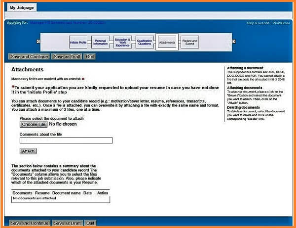Screenshot of the Attachments section in the Phillip Morris careers application