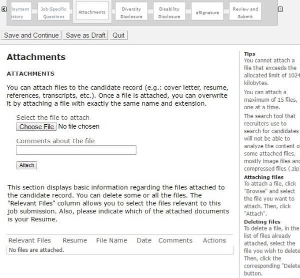 Screenshot of the Attachments section in the Sherwin Williams application form