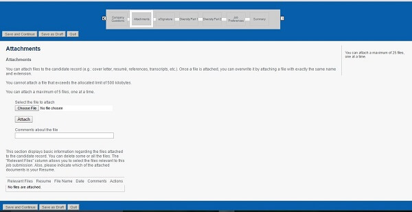 Screenshot of the Attachments section of the Baker Hughes Careers Application Form