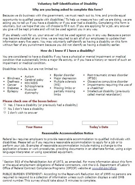 Screenshot of the Disability Status Self-Identification Section of the Coca Cola Application Form