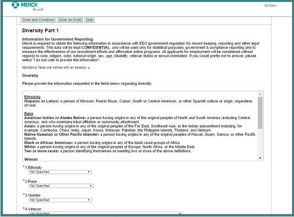 Screenshot of the Diversity Part 1 section of the Merck careers application form