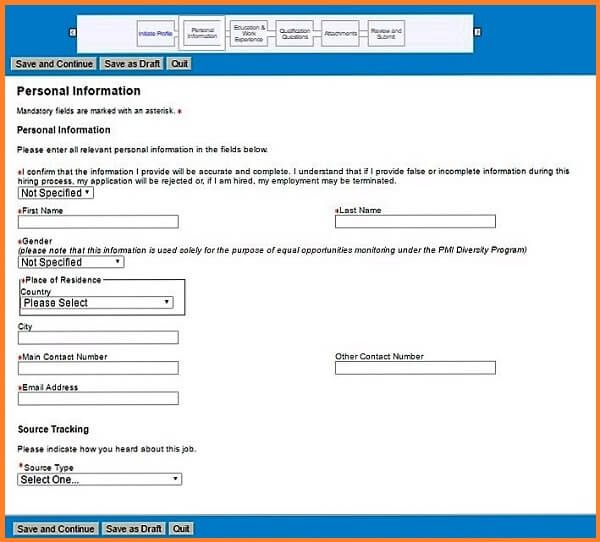 Screenshot of the Personal Information section of the Phillip Morris careers application