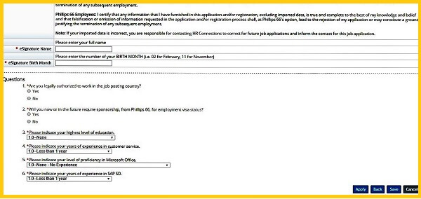 Screenshot of the Questionnaire section in the Phillips 66 Careers Application