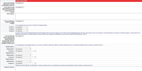 Screenshot of the Status Questions section of the Entergy application form