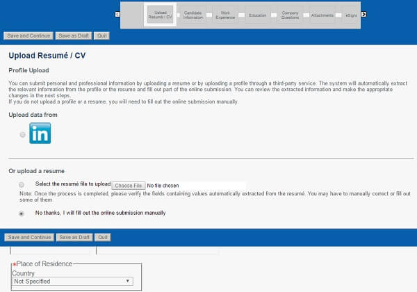 screenshot of the upload resume section of the baker hughes careers application form