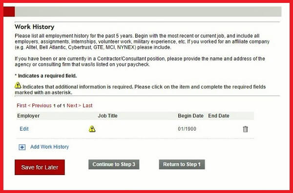 Screenshot of the Work History section of the Verizon application form