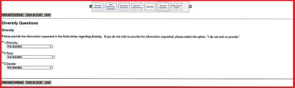 Screenshot of the Diversity Questions section of the Aflac application form