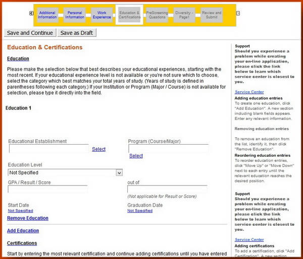 Screenshot of the Education and Certifications section of the Caterpillar application form