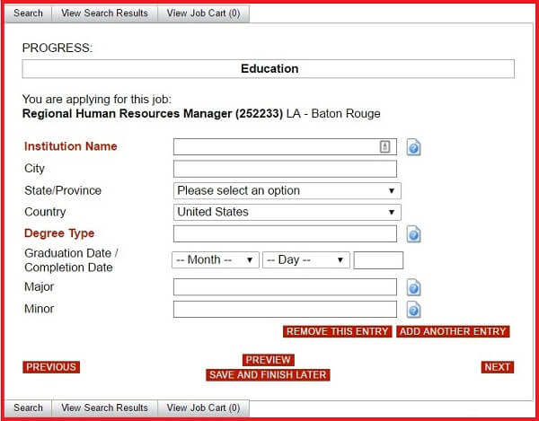 Screenshot of the Education section of the Advance Auto Parts application form