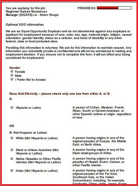 Employee Advance Form Screenshot Of The Optional Eeo Information