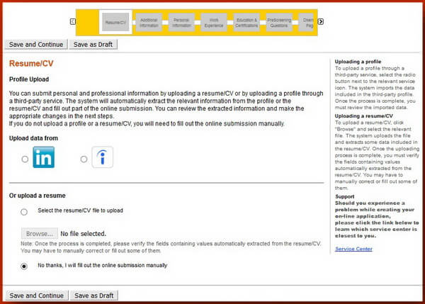 Screenshot of the Resume Upload section of the Caterpillar application form