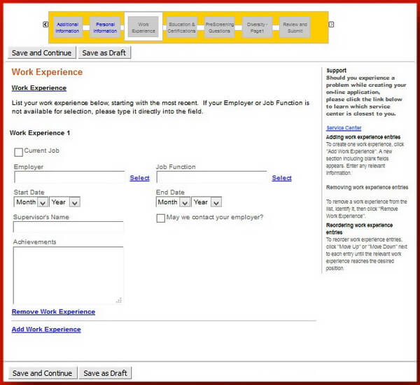 Screenshot of the Work Experience section of the Caterpillar application form